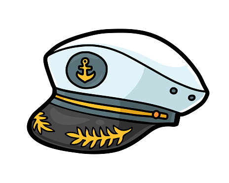 Cartoon illustration for children, Captain hat