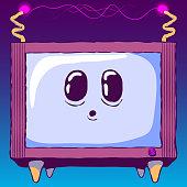 Cartoon cute glowing illustration - Funny legged TV with cute face. Animal TV.