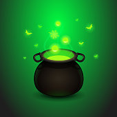 cartoon illustration magic potion with the boiler on a dark green background