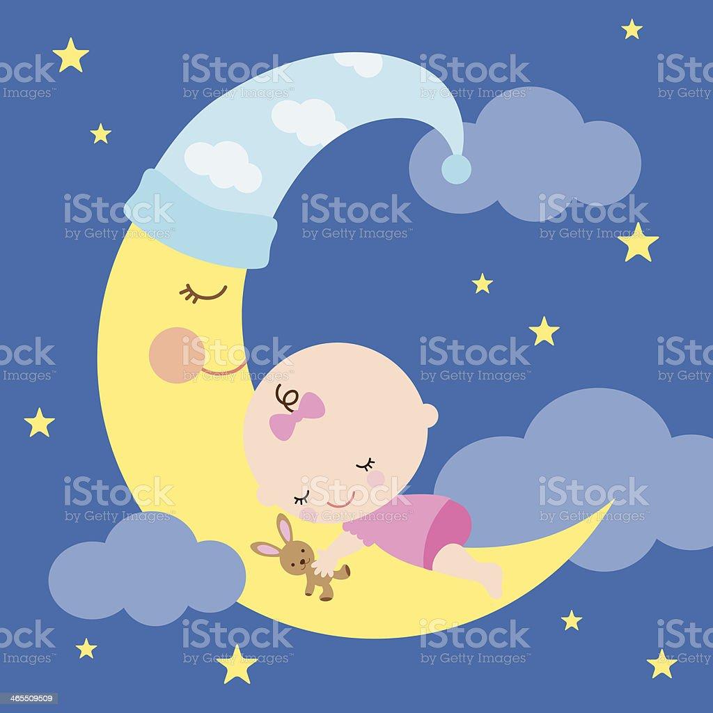 Ilustración de Bebé Durmiendo En La Luna y más banco de imágenes de ...