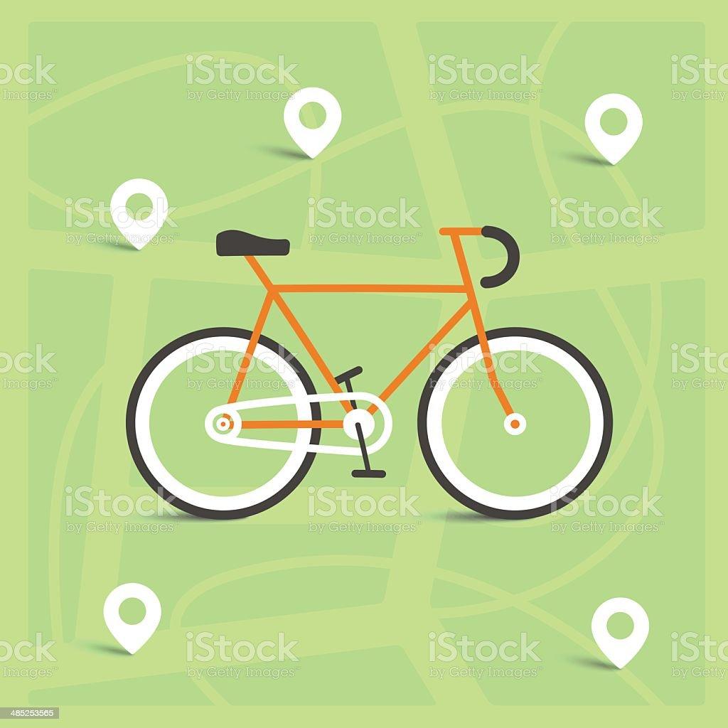 Cartoon illustration of a bike on city map royalty-free stock vector art