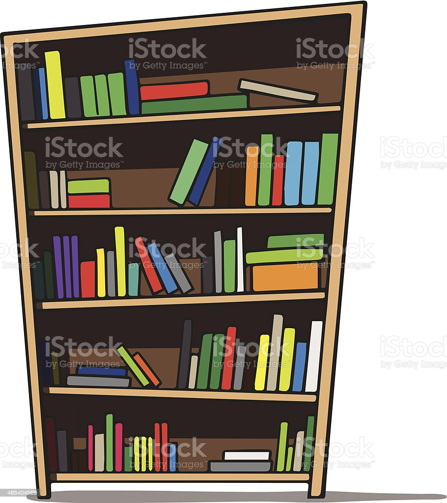 Cartoon illustration of a bookshelf. royalty-free cartoon illustration of a bookshelf stock vector art & more images of archives