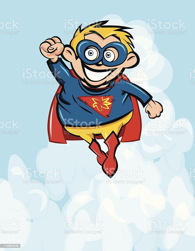 Cartoon illustration of a child in superhero costume royalty-free stock vector art