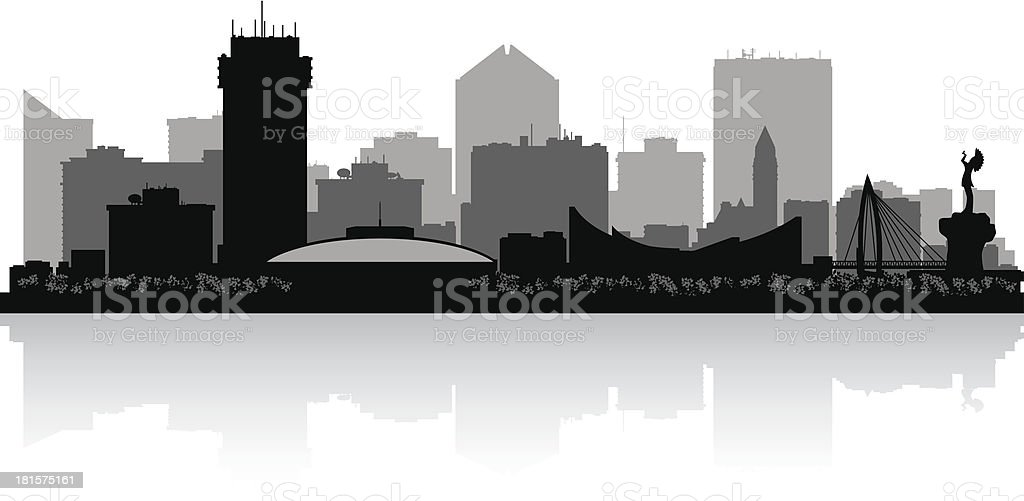 A cartoon illustration of a city skyline over water royalty-free stock vector art