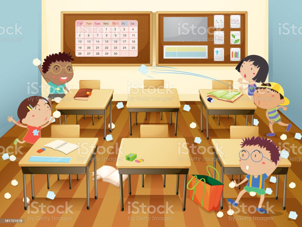 Cartoon Illustration Of A Classroom Paper Fight Stock ...