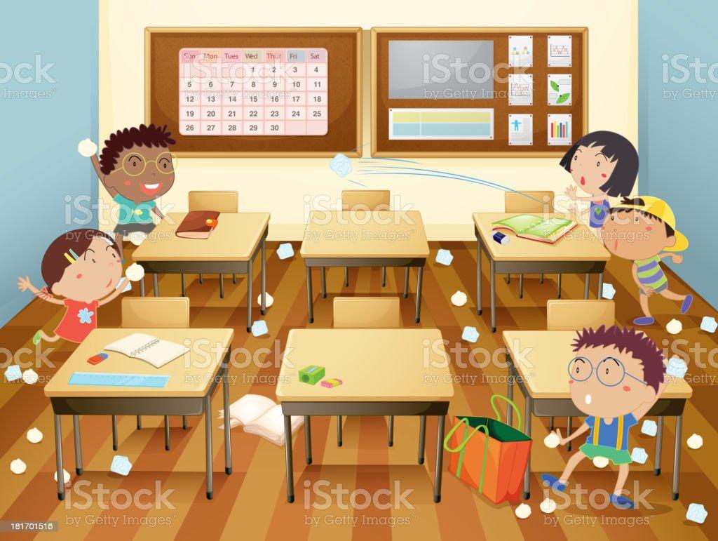 Cartoon illustration of a classroom paper fight vector art illustration