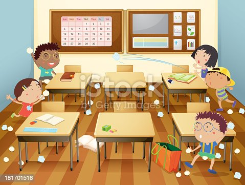 Cartoon Illustration Of A Classroom Paper Fight Stock Vector Art & More Images of ...