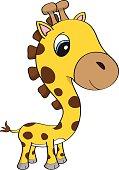 Isolated cartoon illustration of a cute baby giraffe with big blue eyes
