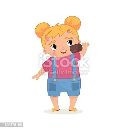 istock Cartoon illustration of a cute little girl 1309378195