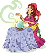 cartoon gypsy fortune teller with her chrystal ball