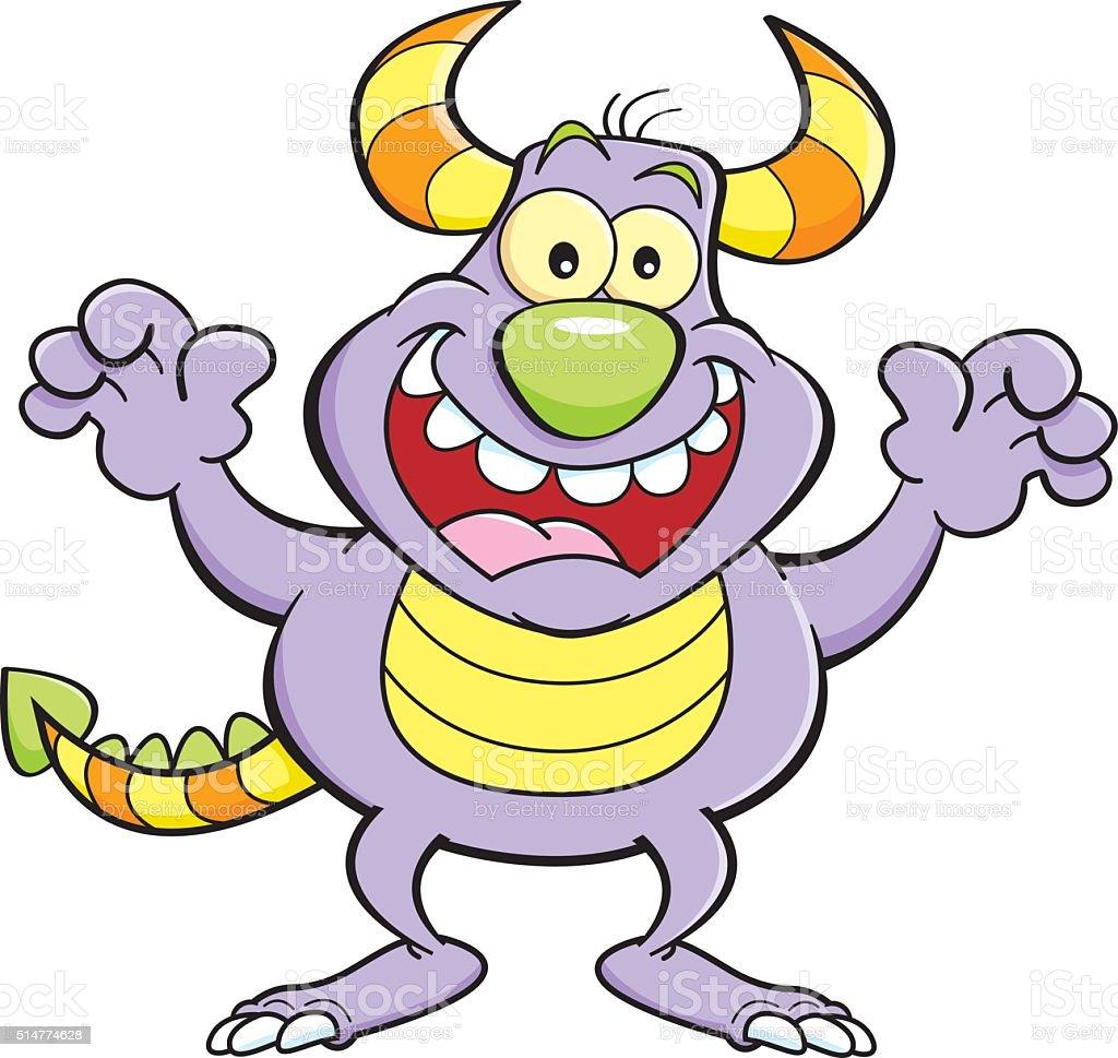 Cartoon illustration of a grinning monster.