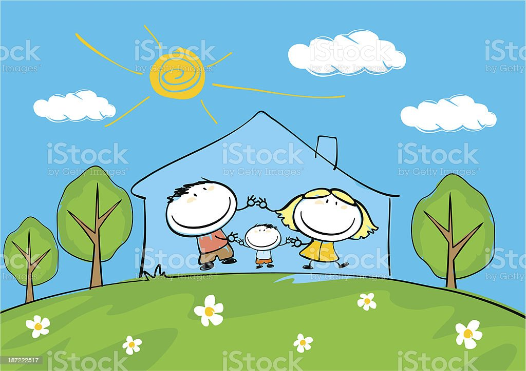 Cartoon Illustration Of A Happy Family Under One Roof Royalty Free Stock  Vector Art