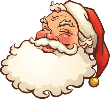 Cartoon illustration of a jolly looking Santa Claus