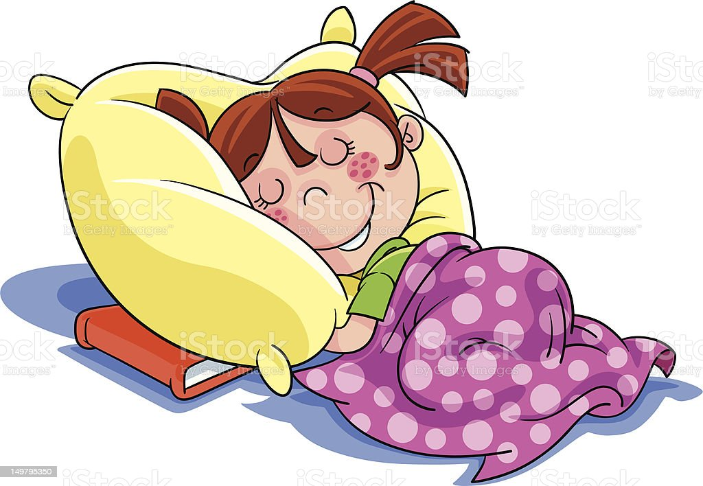 Cartoon Illustration Of A Little Girl Sleeping With Book ...
