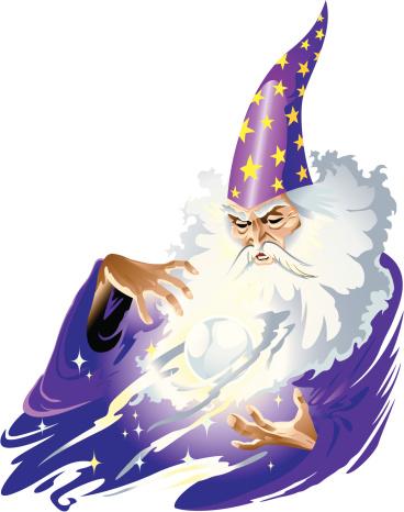 Cartoon illustration of a magician man