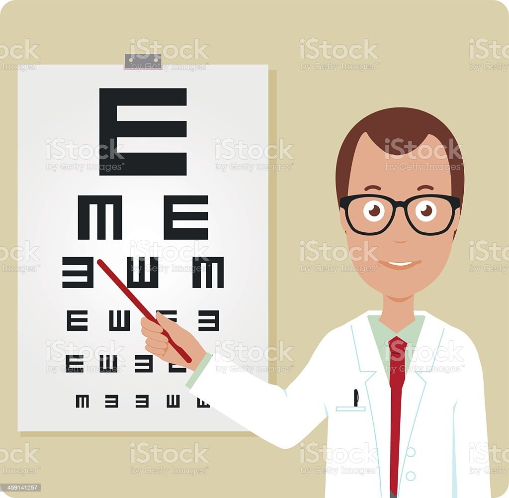 Cartoon illustration of a male optician pointing to E poster vector art illustration