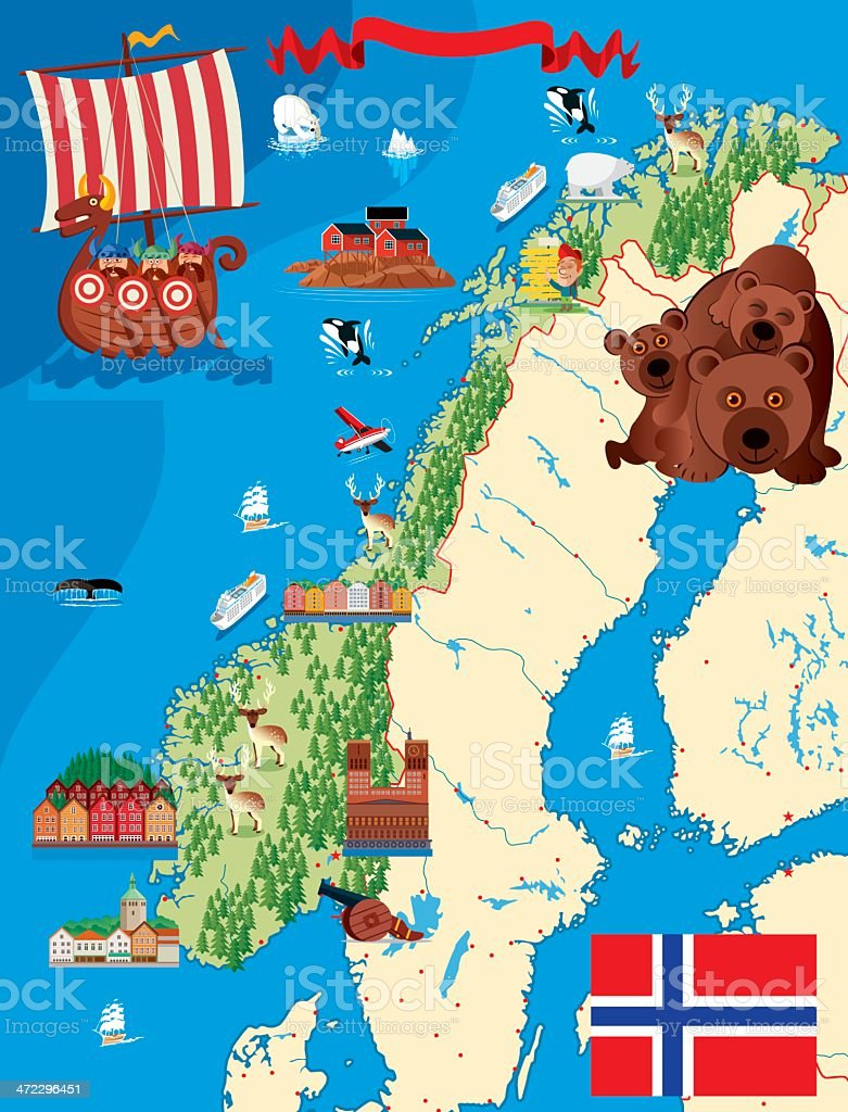 A Cartoon Illustration Of A Norway Map Stock Vector Art More