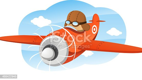 istock Cartoon illustration of a pilot flying a prop plane 455422945