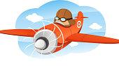 Cartoon illustration of a pilot flying a prop plane