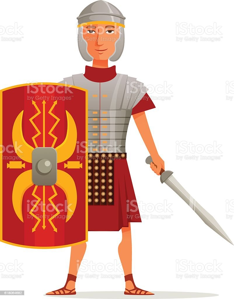 cartoon illustration of a roman soldier stock vector art 618064682