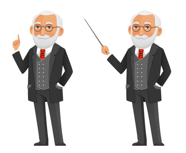 cartoon illustration of a senior scientist or teacher - old man glasses cartoon stock illustrations, clip art, cartoons, & icons