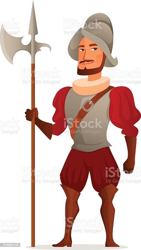 cartoon illustration of a Spanish conquistador vector art illustration