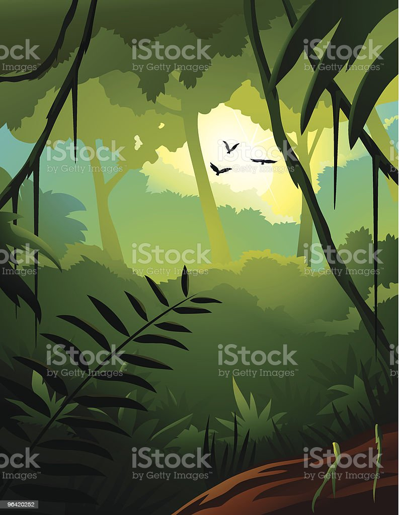 Cartoon illustration of a tropical forest landscape royalty-free stock vector art