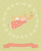 Cartoon illustration of a very cute angel in a wreath