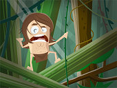 cartoon illustration of a wild man in the jungle