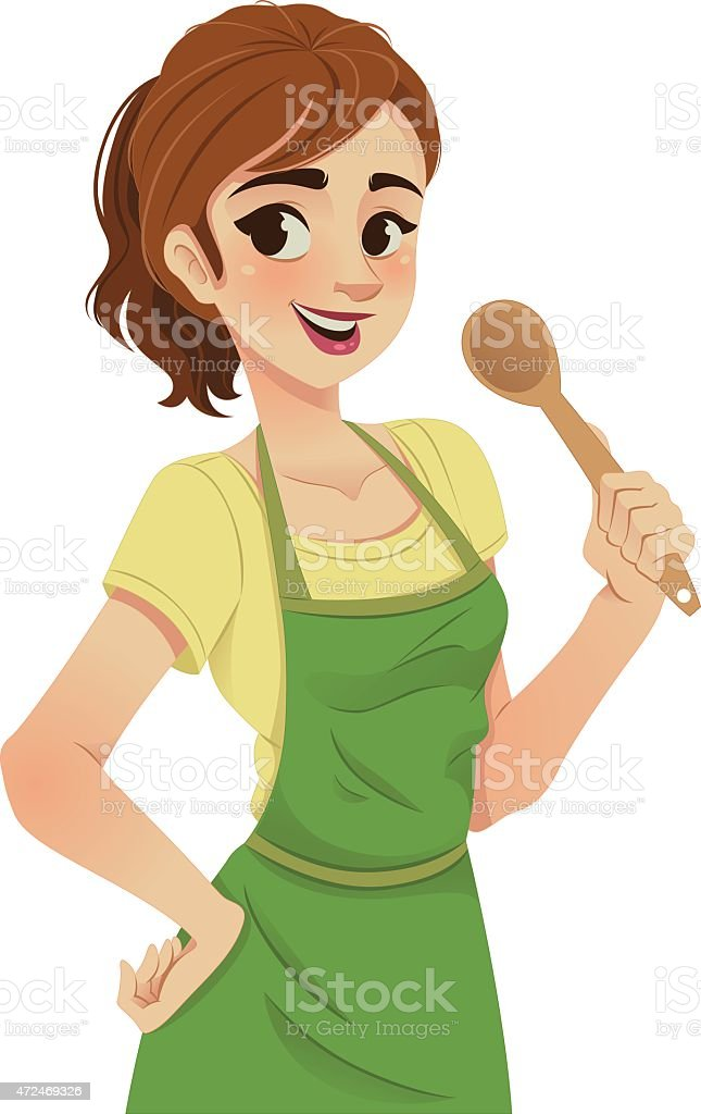 Cartoon illustration of a woman with green apron and spoon vector art illustration