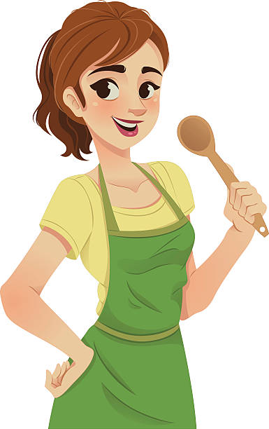 cartoon illustration of a woman with green apron and spoon - woman cooking stock illustrations