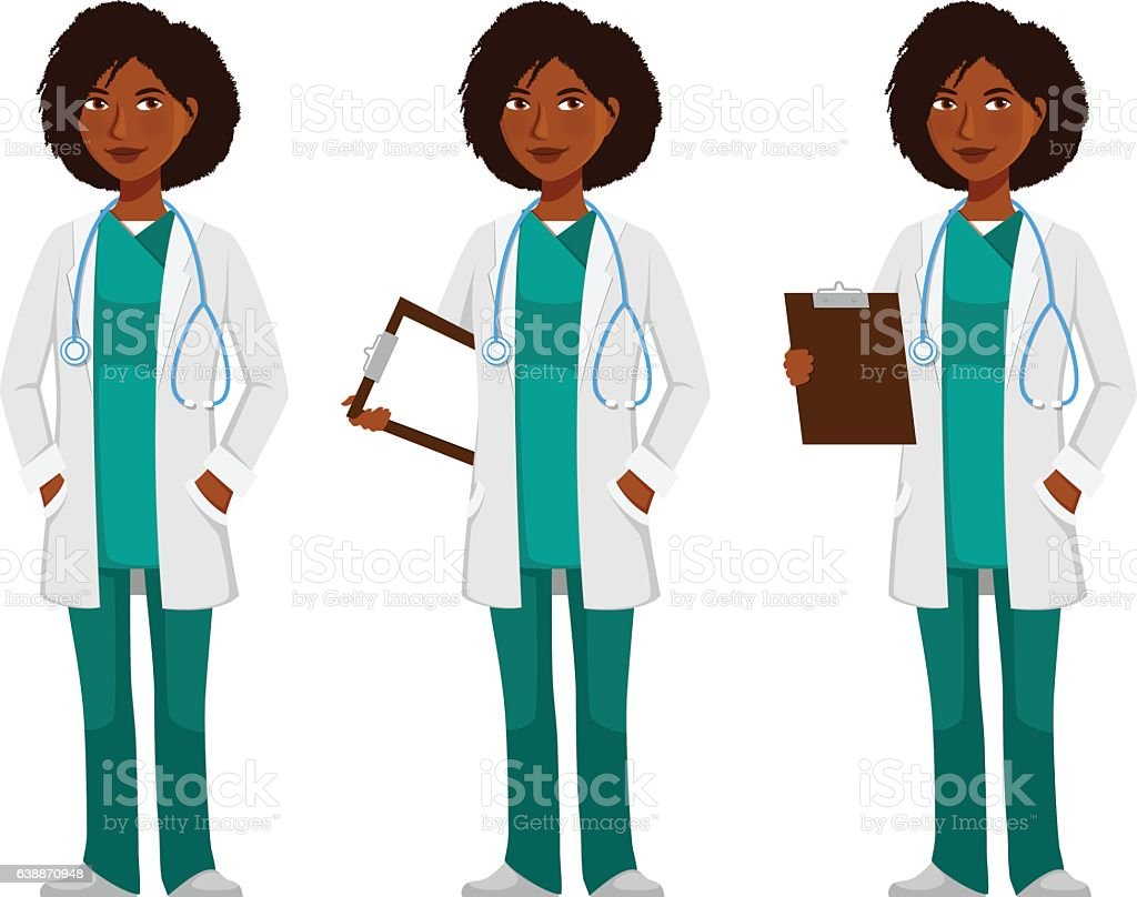cartoon illustration of a young African American doctor vector art illustration