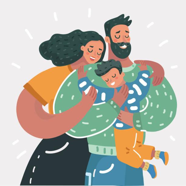 ilustraciones, imágenes clip art, dibujos animados e iconos de stock de ilustración de dibujos animados de una joven familia feliz - hijo