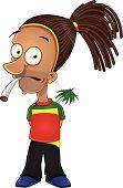 Cartoon illustration of afraid rastafarian smoking joint