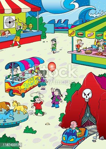 Cartoon illustration of amusement park landscape. Carnival and kids .