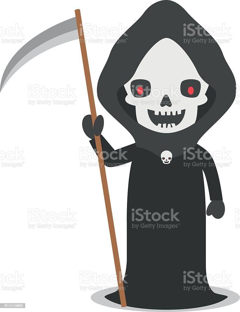 cartoon illustration of angel of death with scythe stock vector