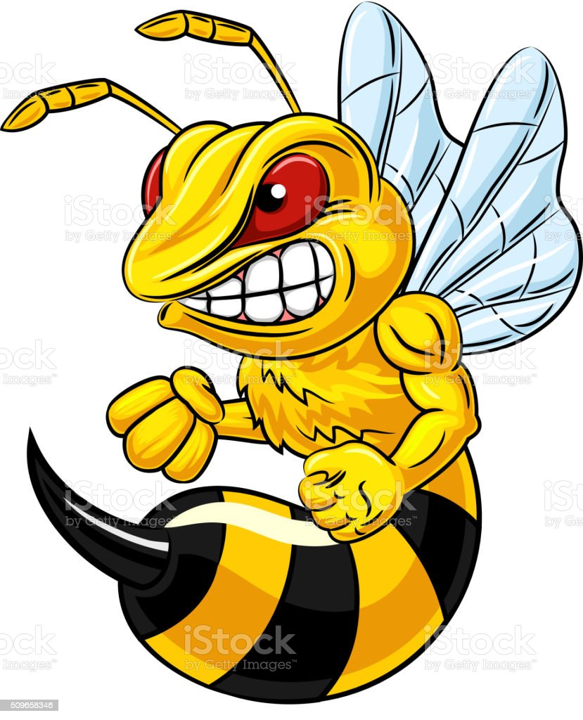 Cartoon illustration of angry bee mascot isolated on white background vector art illustration