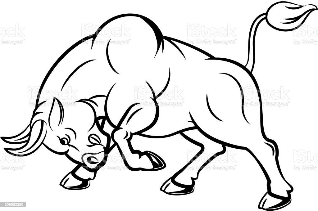 カットイラスト怒っているブルのイラストレーション 攻撃 のポーズ