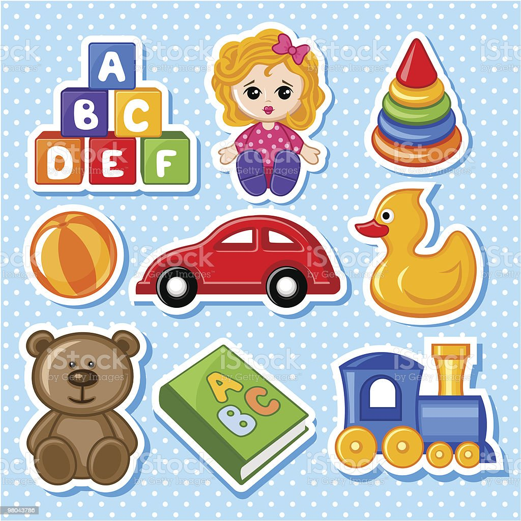 Cartoon illustration of assorted toys royalty-free cartoon illustration of assorted toys stock vector art & more images of alphabet