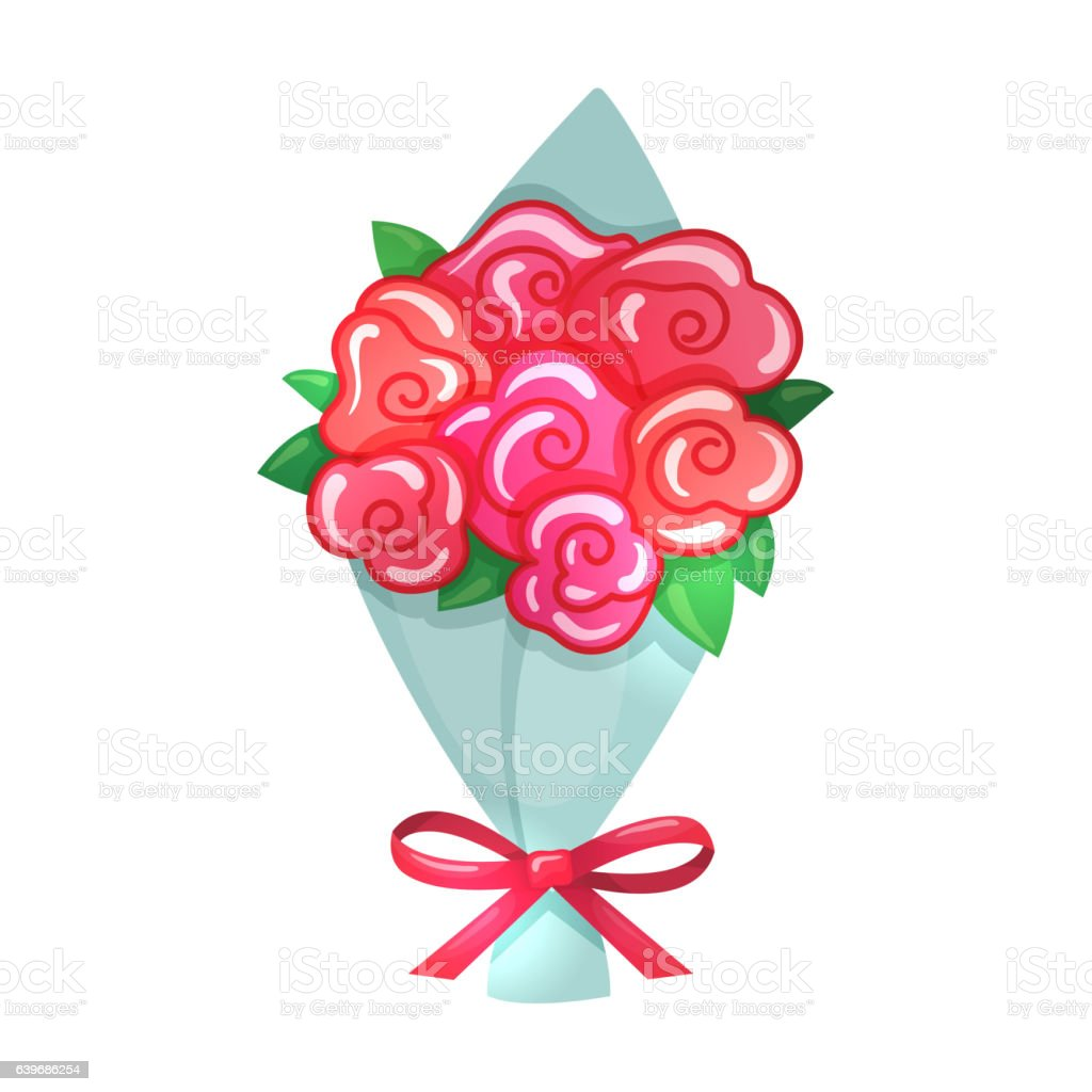 Cartoon illustration of bouquet vector art illustration