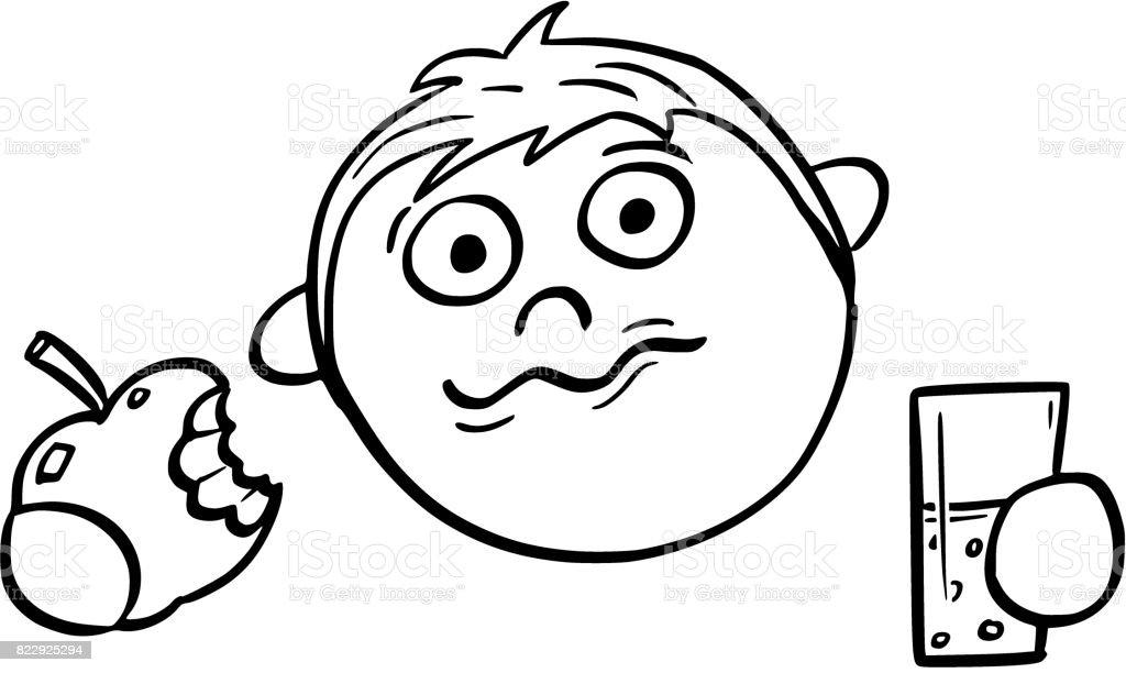 Ilustración De Ilustración De Dibujos Animados De Niño Comiendo Una