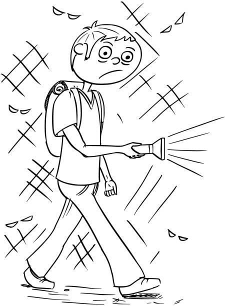 Royalty Free Child Walking With Flashlight Clip Art