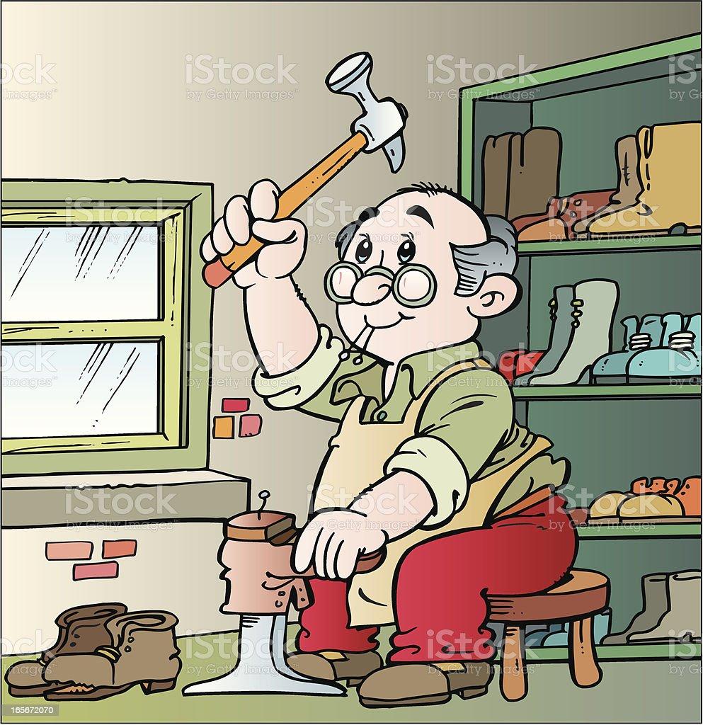 Cartoon illustration of cobbler repairing shoe with hammer vector art illustration