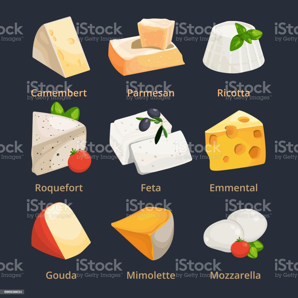 Cartoon illustration of different cheeses. Vector pictures set vector art illustration