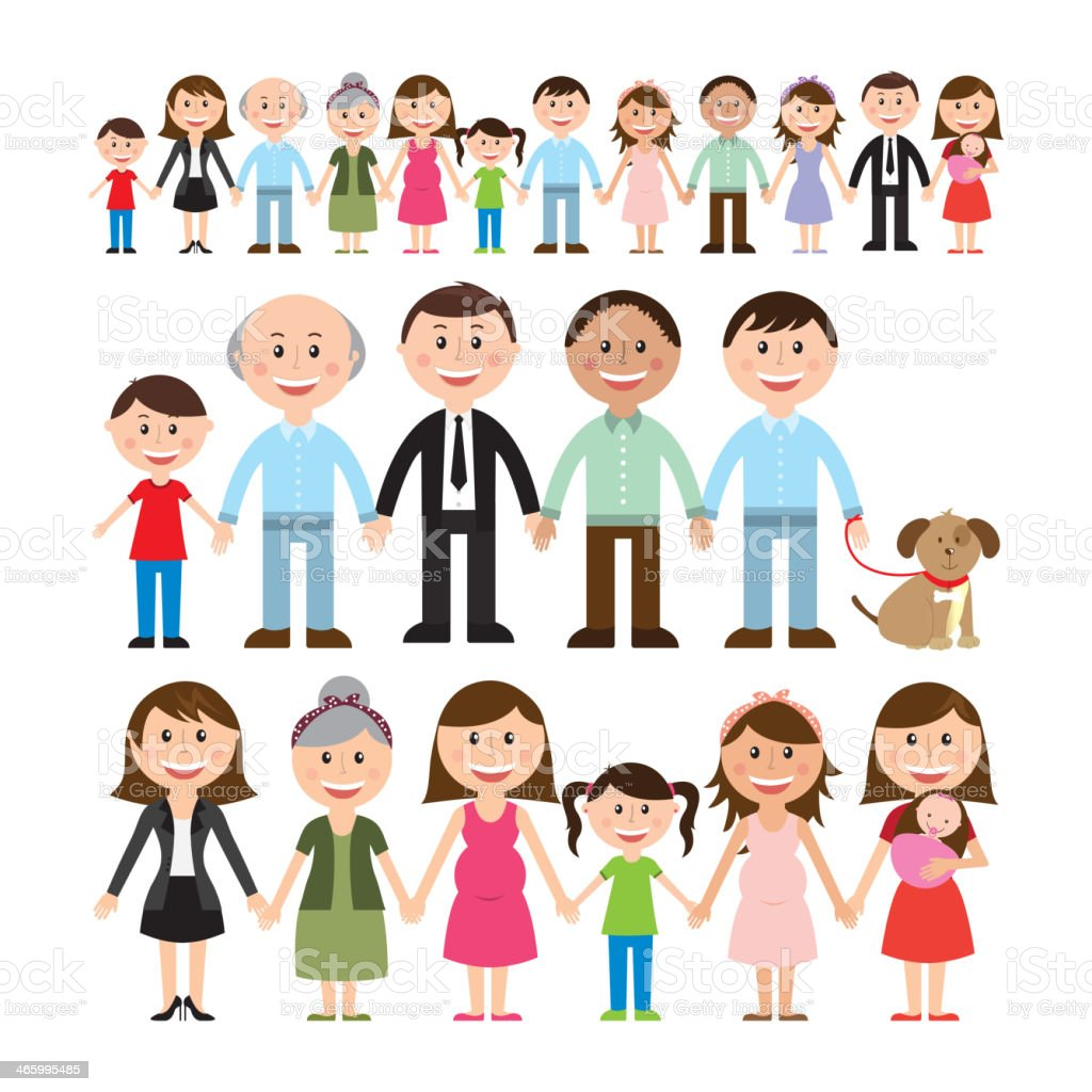 Cartoon illustration of different family members vector art illustration