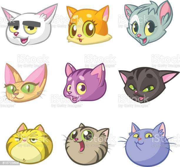 Cartoon illustration of different happy cats heads outlined set pack vector id815723866?b=1&k=6&m=815723866&s=612x612&h=rmptfsjltehhwyqwkwtbfsjtixjwsjxyg48uen04d6i=