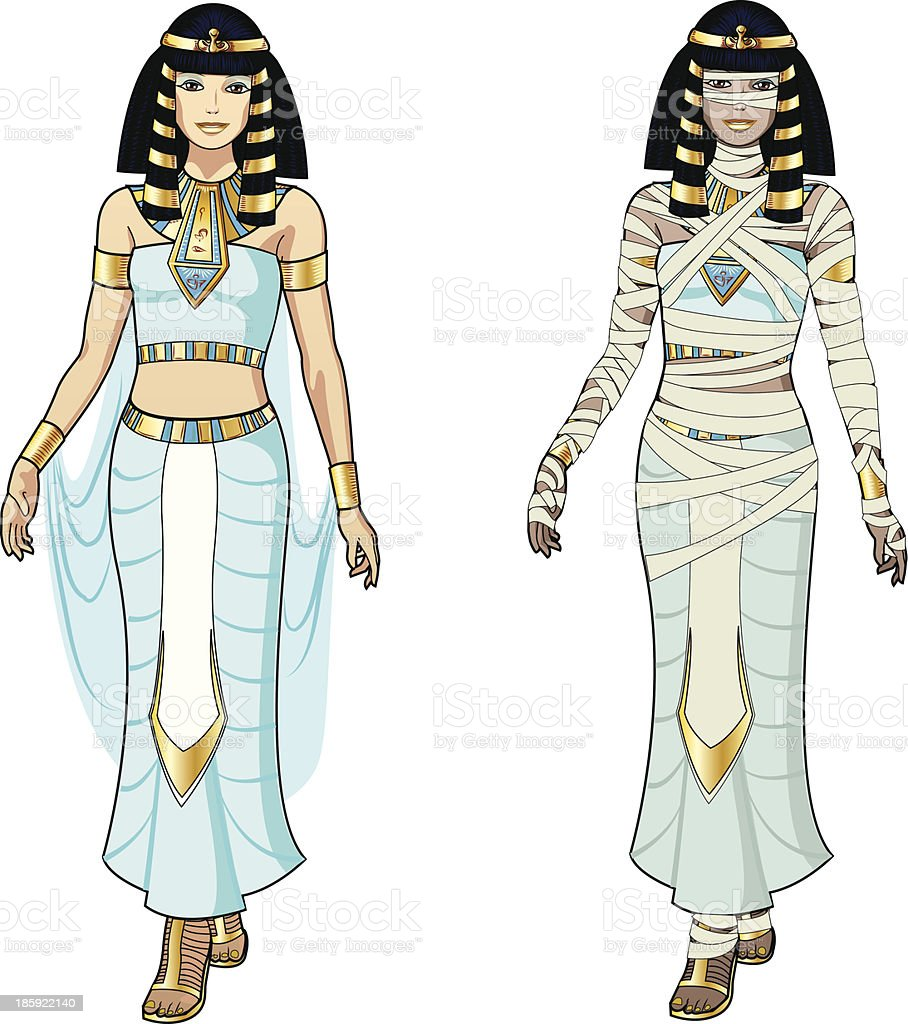 Cartoon illustration of Egyptian queen and mummy vector art illustration