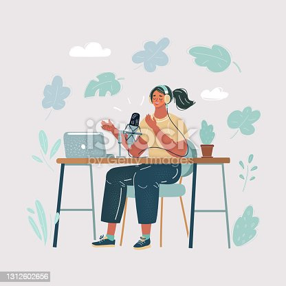 istock Cartoon illustration of female Presenter in radio station make live in Studio. Podcaster and broadcaster conept. Woman make blog. 1312602656