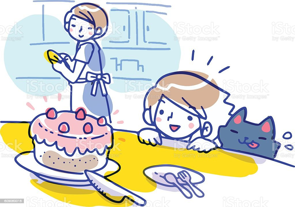 Cartoon illustration of girl and cat looking at strawberry cake vector art illustration