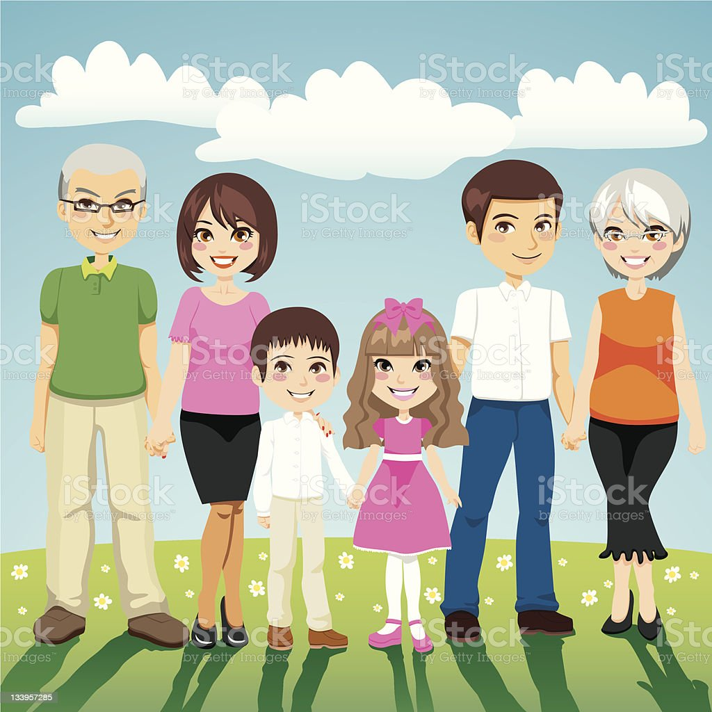 Cartoon illustration of happy extended family outdoors royalty-free cartoon illustration of happy extended family outdoors stock vector art & more images of adult